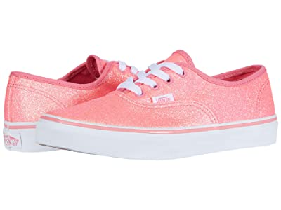 Vans Kids Authentic (Big Kid) ((Neon Glitter)Pink/True White) Girls Shoes