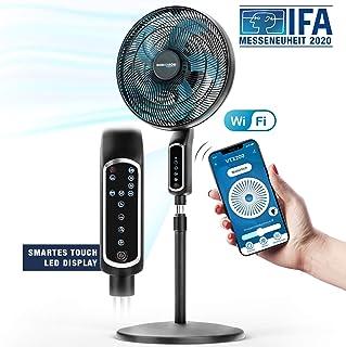 RelaxxNow 2en1 Ventilador de Pie 55W Muy Silencioso 43 dB| Pantalla Táctil LED + Ventilador de Mesa con Mando | VTX200 Oscilación e Inclinación de 60 App Amazon Alexa y Google Assistant Compatible