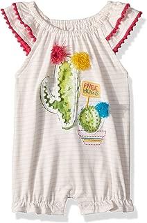 Baby Girls Cactus Stripe Flutter Sleeve Bubble Romper Playwear