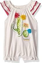 Mud Pie Baby Girls Cactus Stripe Flutter Sleeve Bubble Romper Playwear
