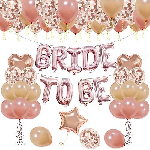 e85c2ef8ea5e14 KUMEED BRIDE TO BE Balloons Banner Rose Gold 16