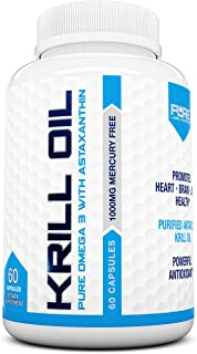 Pure Label Nutrition-Krill Oil 1000mg per serving w/ Astaxanthin and Phospholipids, 60 caps, Omega 3 6 9 - ...