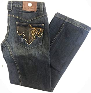 Antik Men's Dark Wash Boot Cut Denim Jeans with Embroidered Rivets/Studs 38 x 33 Blue