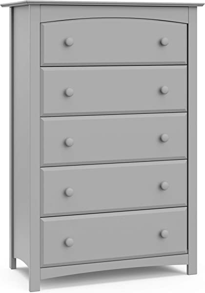 Storkcraft Kenton 5 Drawer Universal Dresser Pebble Gray Kids Bedroom Dresser With 5 Drawers Wood And Composite Construction Ideal For Nursery Toddlers Room Kids Room