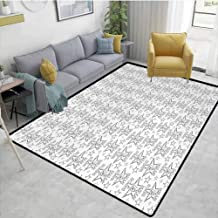 Starcarpet for Living Room Greyscale Rockn Roll Design with Detailed Sign of Horns Thorny Stars Pattern Bedroom Rugs Area Charcoal Grey White 6'x9'