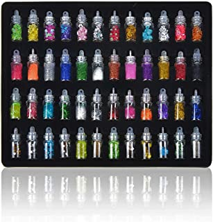 Lifestyle-You™ 48 Pcs Glass Bottles 3D Nail Art Set. Glitter Sequins Rhinestones Beads Assorted Colours