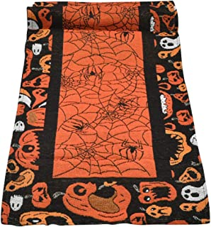 TIMESETL Halloween Table Runner 13'' x 70'', Haunted House Table Cove with Hand-Woven and Embroidery, an Alternating Design of Halloween Pumpkins Table Runner and Spider Rectangular Runner