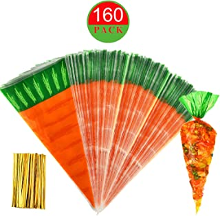 Tuoshei 160 Pieces Easter Carrot Cone Candy Bag Cellophane Eater Bags Cookies Bags with 160 Pieces Twist Ties (160)