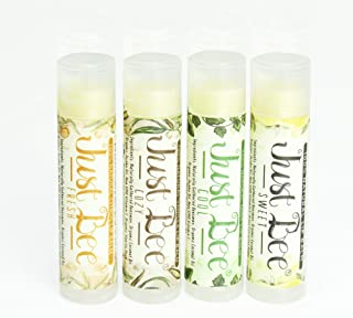 Just Bee Lip Balm (Peppermint, Honey, Citrus, Vanilla, 4 Pack)