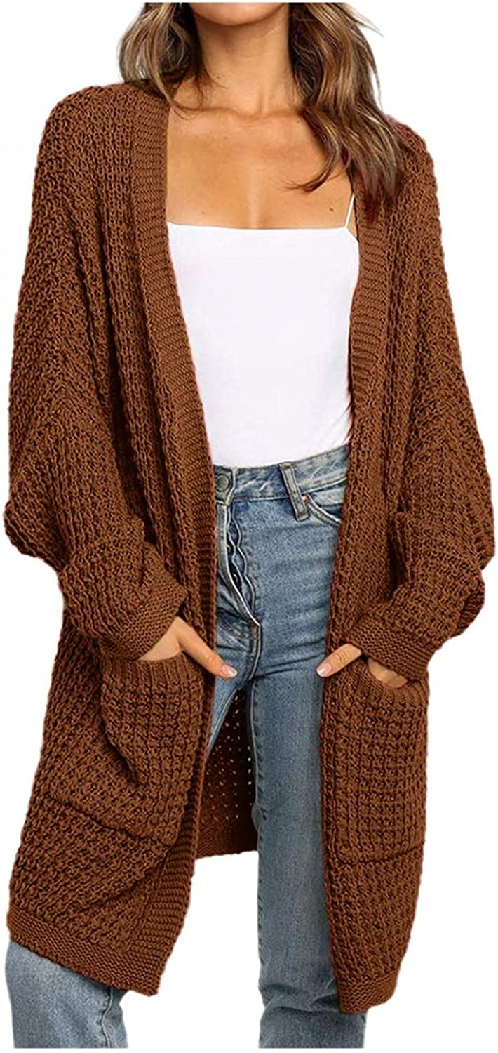 Women's Long Sleeve Cable Knit Sweaters Open Front Color Block Long Cardigan Loose Outerwear Cozy Warm Sweater Coats