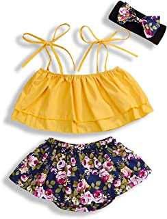 YOUNGER TREE Infant Baby Girls Clothes Tie-up Crop Strap Top +Floral Shorts with Headband Summer Outfits 3Pcs Girls Shorts Sets