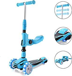 Hikole 2-in-1 Scooter for Kids with Folding Seats & Height Adjustable & Folding Scooters - 3 Lighting Wheels Kick Scooter for Girls Boys Great Outdoor Toy for Kids (Blue)