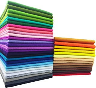 flic-flac 42pcs1.4mm Thick Soft Felt Fabric Sheet Assorted Color Felt Pack DIY Craft Sewing Squares Nonwoven Patchwork (25cm 25cm)