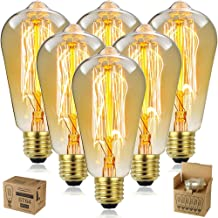 LED Light Bulb Antique Bulb 6pcs ST64 top and Bottom Wire Golden Brown 220V110V 60W Antique lamp Retro Bulb E27,E26 2700K-...