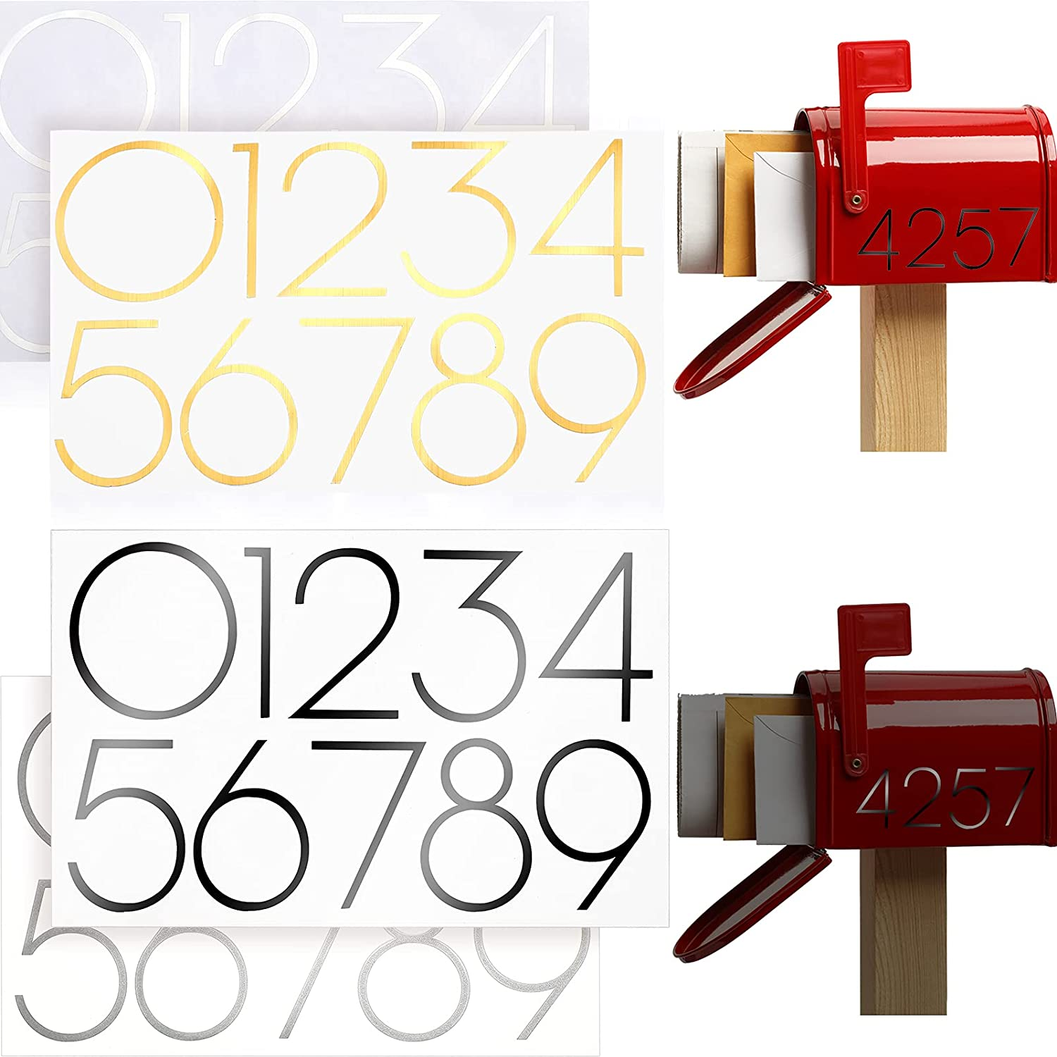 8 Set Reflective Mailbox NEW before selling ☆ Numbers Doo Sticker Vinyl Self San Francisco Mall Adhesive