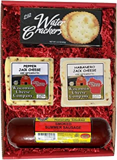 Wisconsin Deluxe HOT Jack Cheese, Sausage & Cracker Gift