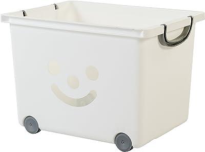 Iris Ohyama 135614 Set de 2 cubes de rangement Smiley Kids sur roulettes, Plastique, Blanc/Argent, 34 Litres