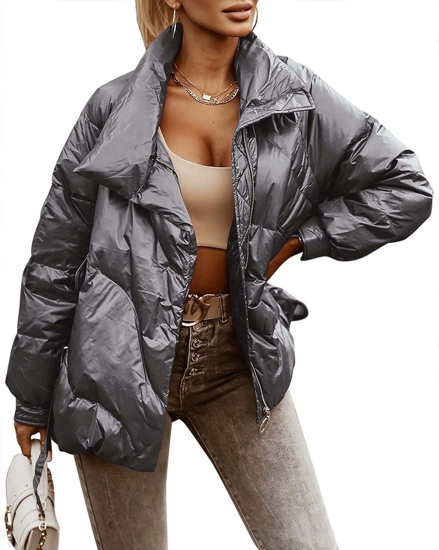 Women's Winter Puffer Down Long Sleeve Full Zipper Fashion Warm Metallic Short Coat with Pockets
