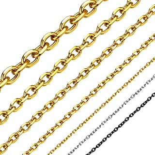 ChainsHouse Men Women Chain 3MM/5MM/7MM/9MM/12MM Rolo Necklace, Stainless Steel/Black Gun Plated/18K Gold Plated Rolo Cable Link Necklace, 18