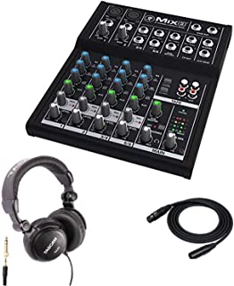 Mackie Mix8 8-channel Compact Mixer with Full Size Studio Headphones and XLR Cable
