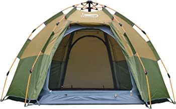 DESERT & FOX Instant Pop-up Tent, 3-4 Person Hexagon Dome Family Tent, Automatic 4 Season Portable Backpacking Tent for Camping, Hiking, Traveling