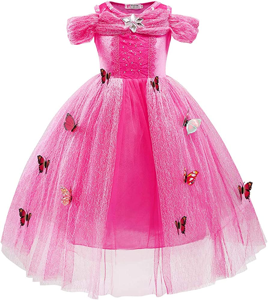 Ecparty Princess Costumes Dress for Your Little Girls Dress up (Cinderella Dress Pink, 6T)