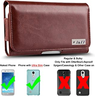 J&D Holster Compatible for LG Aristo 3/Aristo 2/Tribute Dynasty/Tribute Empire/Aristo 2 Plus/Phoenix 4/Zone 4/K8 2018/Fortune 2/Rebel 4 Holster with Belt Clip (Only Fits with Naked Phone/Slim Case On)