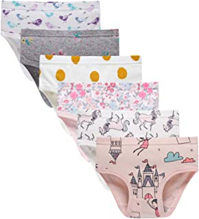 Sladatona Little Girls' Soft Cotton Underwear Bring Cool, Breathable Comfort Experience Panty(Pack of 6)