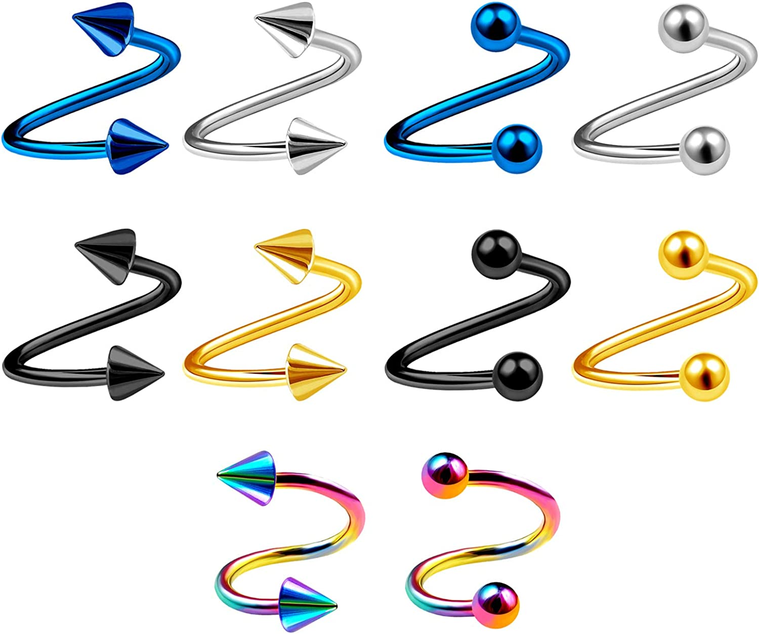 MATIGA 10Pcs Surgical Steel Anodized 16g Spiral Barbell Cartilage Piercing Jewelry Tragus Lip Helix 3mm Ball and Cone More Choices