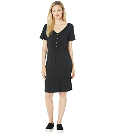 Mod-o-doc Scotton Modal Knotted Button Front Dress (Black) Women