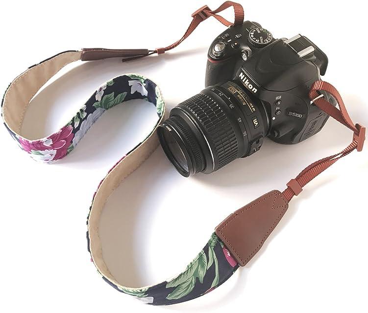 Bestele - Correa de Hombro para cámara de Fotos con Correa para el Cuello Suave impresión Vintage para DSLR/SLR/Nikon/Canon/Sony/Lumix/Fujifilm/Rico/Samsung/Pentax/Olympus etc.