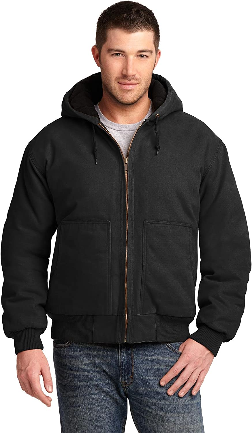 Cornerstone Mens Washed Duck Cloth Insulated Hooded Work Jacket