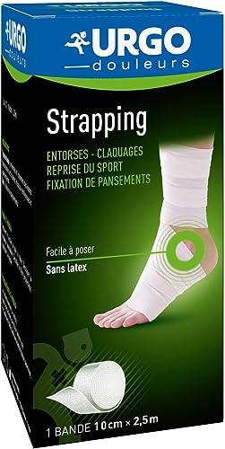 Urgo - Strapping - Bande élastique adhésive - Contention / Fixation de pansements - 1 bande 2,5mx10cm
