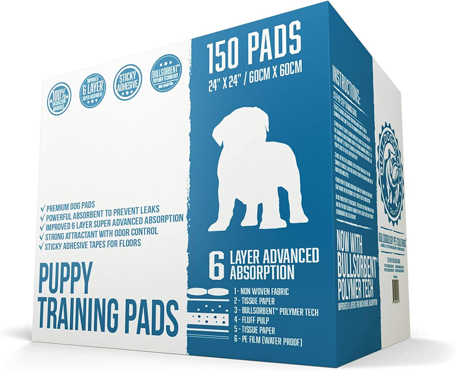 Bulldogology Puppy Pee Pads with Adhesive Sticky Tape  Large Dog Training Premium Wee Pads (24x24) 6 Layers with Extra Quick Dry Bullsorbent Polymer Tech (150Count)