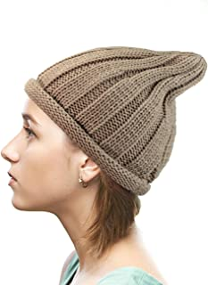 NYFASHION101 Exclusive Winter Cable Knit Rolled Up Brim Pointy Top Beanie Hat
