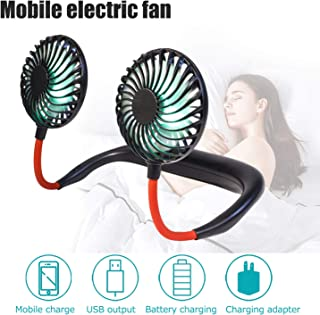 Hands Free Portable Neck Fan - Rechargeable Mini USB Personal Fan Battery Operated with 3 Level Air Flow, 7 LED,360 Degree Adjustable Mini Fan, Lights for Home Office Travel Indoor Outdoor(Black)