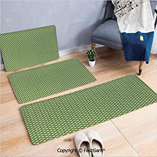 FashSam 3 Piece Non Slip Flannel Door Mat White Polka Dots on Green Backdrop Classic Simplistic Pattern Design Print Decorative Indoor Carpet for Bath Kitchen(W15.7xL23.6 by W19.6xL31.5 by W17.7xL53)