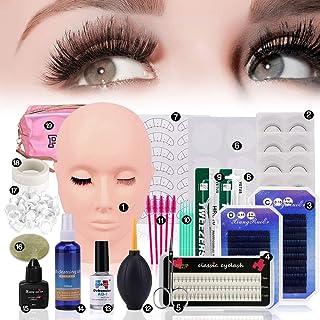 False Eyelashes Extension Practice Exercise Set, Professional Flat Mannequin Head Lip Makeup Eyelash Grafting Training Too...