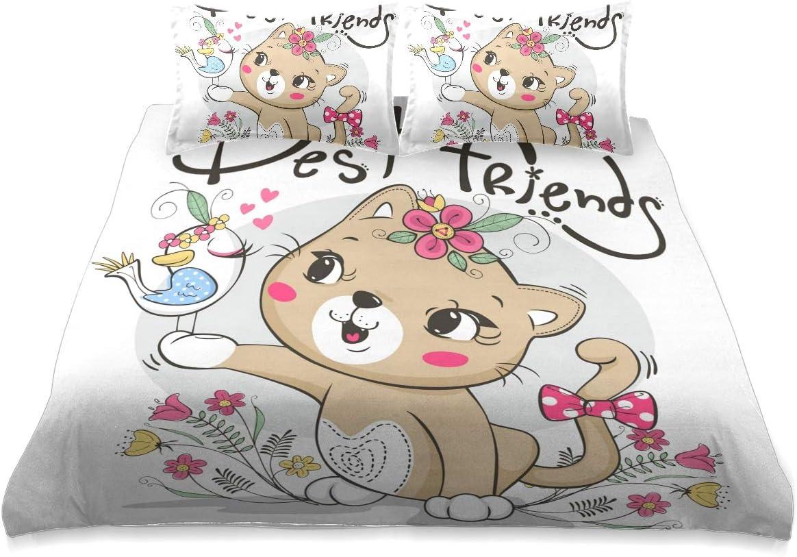 返品不可 Cute Cat Girl and Bird in Queen Comforter Size Set Cover Garden 人気急上昇