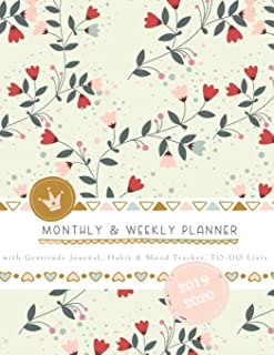 Monthly & Weekly Planner 2019 - 2020 with Gratitude Journal, Habit & Mood Tracker, TO-DO Lists: Le Petit Romantic Flowers ...
