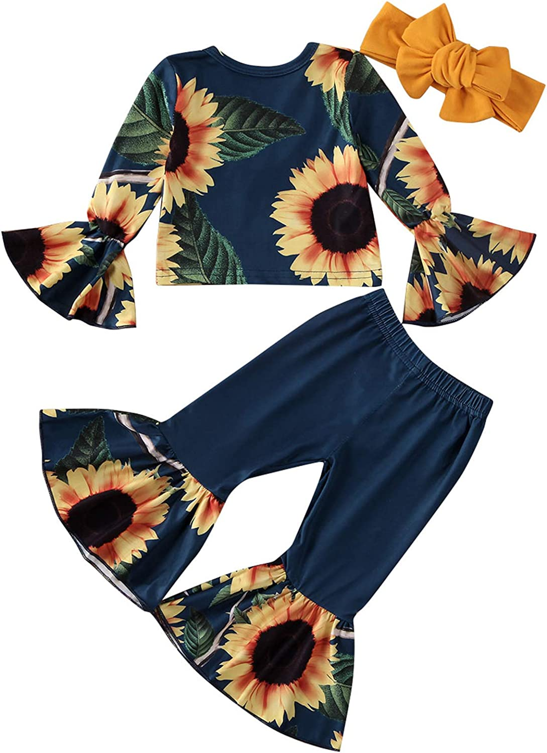 Toddler Baby Girls Sunflower Bell Sleeve Blouse Long Sleeve Shirts Floral Bell Bottoms Flare Pants Summer Outfits