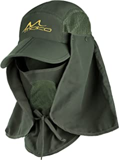 MoKo Fishing Hat Sun Cap for Men Women,  Outdoor UPF 50 Sun Protection with Removable Neck Flap & Face Cover Mask for Hiking,  Camping,  Boating,  Gardening - Army Green