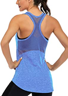 Fihapyli Workout Tank Tops for Women Sleeveless Yoga Tops for Women Mesh Back Tops Racerback Muscle Tank Tops