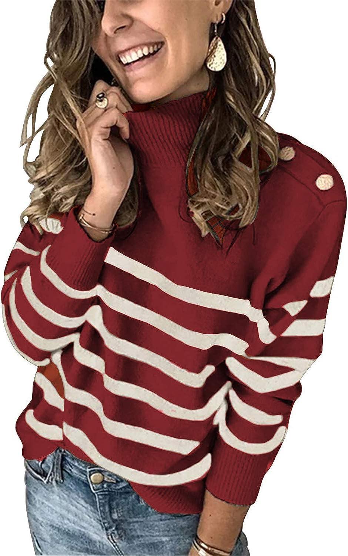 Asvivid Striped Turtleneck Button Knit Sweaters for Women Lightweight Long Sleeve Knit Pullover Jumper Tops