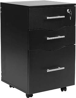 Meuble sous Bureau Mobile à 3 tiroirs verrouillables Noir 40 x 44 x 65 cm