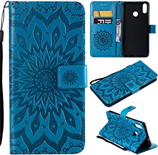 Honor 8X Wallet Case, MEUPZZK Sunflower Embossed with Shockproof Kickstand Credit Card Holder Flip Magnetic Closure Protection PU Cover for Huawei Honor 8X Sky Blue