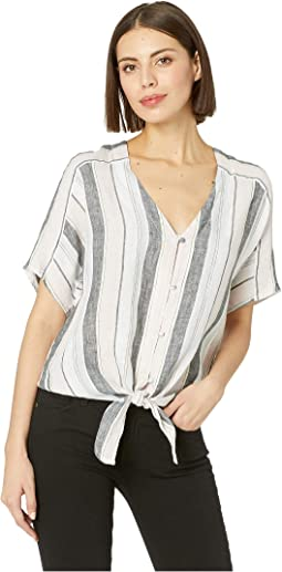 Extend Shoulder Button Down Tie Front Sorbet Stripe Tee