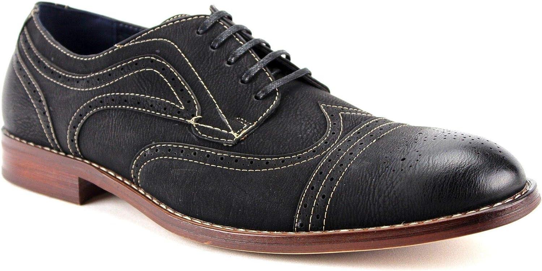 Men's Cap Toe Wing Tip Distressed Dress Shoes Classic Oxfords