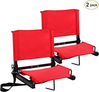 Ohuhu Stadium Seats Bleacher Seat Chairs with Backs and Cushion, Folding & Portable,..
