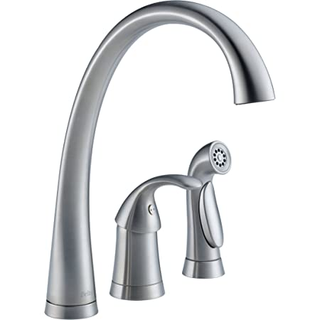 delta faucet pilar single handle kitchen sink faucet with side sprayer in matching finish arctic stainless 4380 ar dst